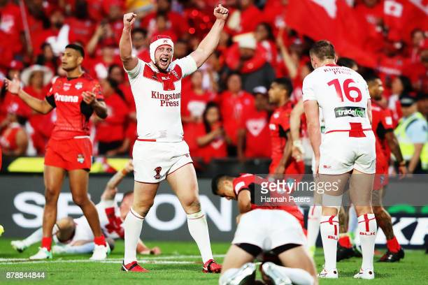 Chris Hill of England celebrates after winning the 2017 Rugby League World Cup Semi Final match between Tonga and England at Mt Smart Stadium on...