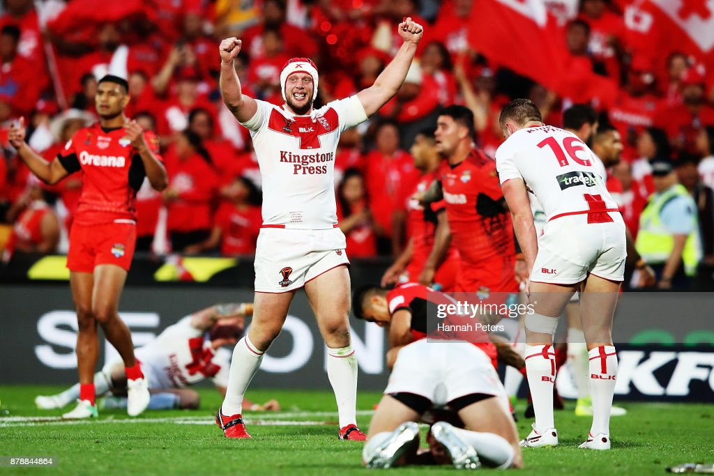 Chris Hill of England celebrates after winning the 2017 Rugby League World Cup Semi Final match between Tonga and England at Mt Smart Stadium on November 25, 2017 in Auckland, New Zealand.
