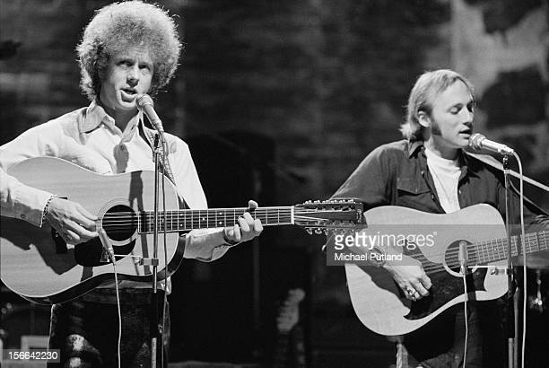 Chris Hillman and Stephen Stills performing with American rock group Manassas on the 'In Concert' TV show at the BBC TV Theatre London 1972