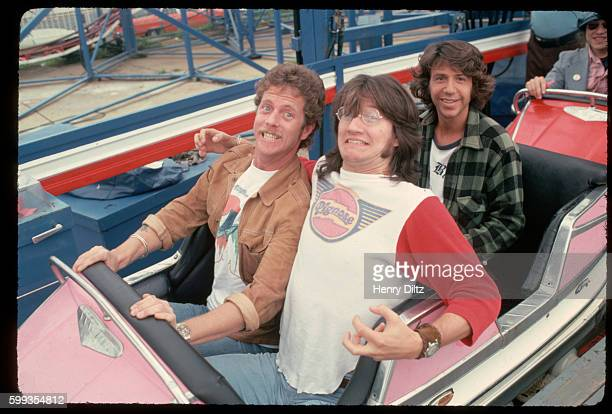 Chris Hillman Ritchie Furay and Paul Harris enjoy a ride on a roller coaster in Atlantic City New Jersey