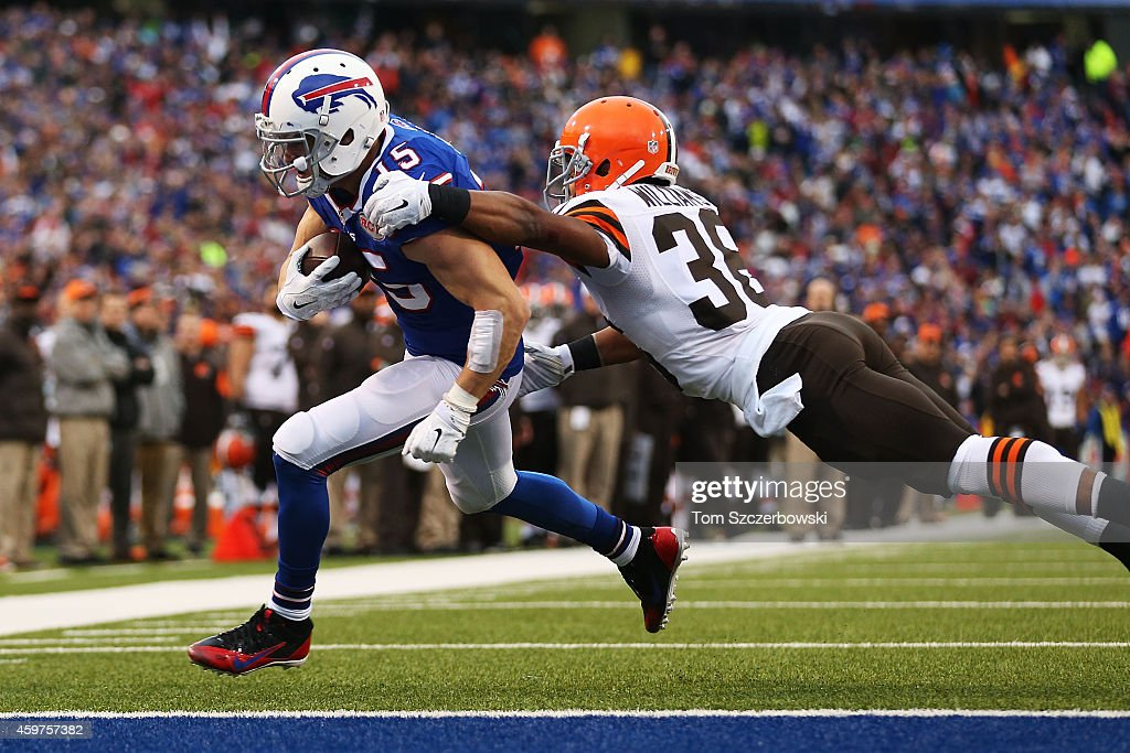 Chris Hogan #15 of the Buffalo Bills scores a touchdown as K'Waun Williams #36 of the Cleveland Browns defends during the second half at Ralph Wilson Stadium on November 30, 2014 in Orchard Park, New York.
