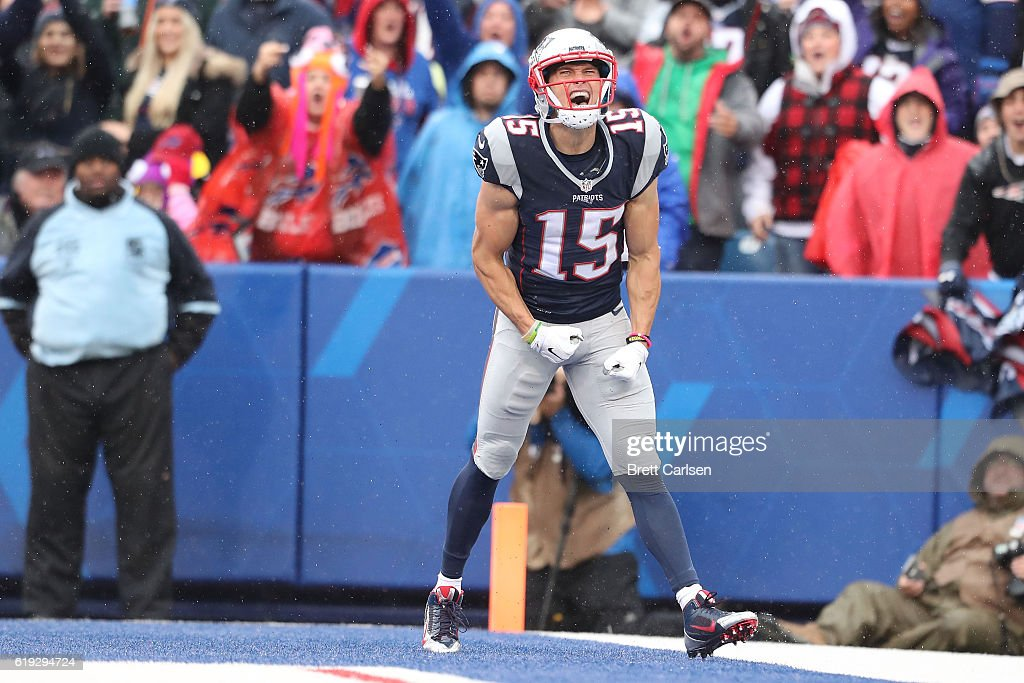 Chris Hogan #15 of the New England Patriots celebrates his touchdown against the Buffalo Bills during the first half at New Era Field on October 30, 2016 in Buffalo, New York.