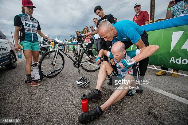 Chris Horner of the AirgasSafeway team is supported after finishing stage 5 of the Tour of Utah on August 7 2015 in Salt Lake City Utah