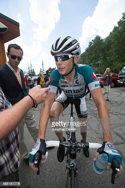 Chris Horner of the AirgasSafeway team talks to a reporter after stage 6 of the Tour of Utah on August 8 2015 in Salt Lake City Utah