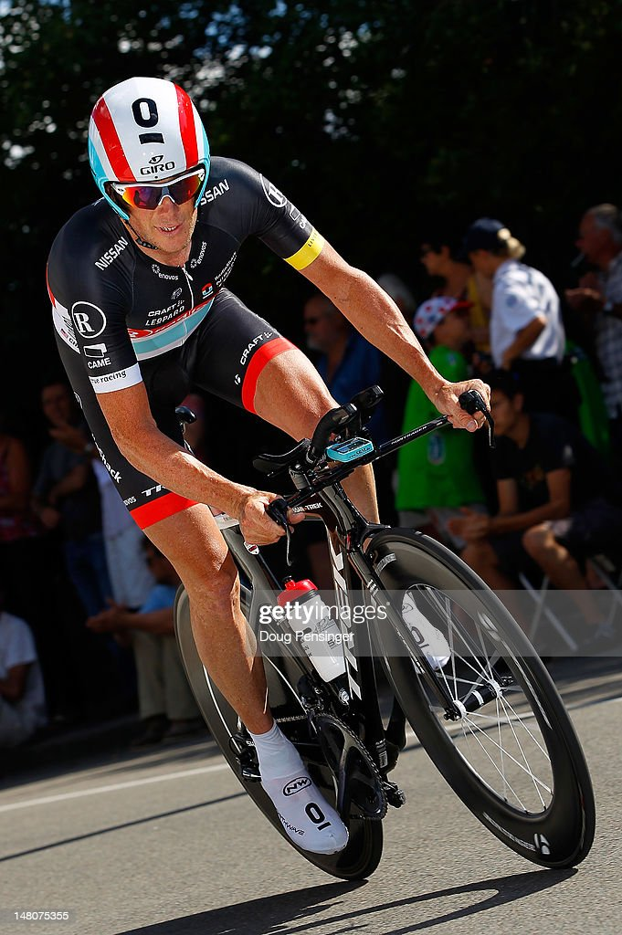 Chris Horner of the USA riding for Radioshack-Nissan races to 67th place in the individual time trial on stage nine of the 2012 Tour de France from Arc-et-Senans to Besancon on July 9, 2012 in Besancon, France.