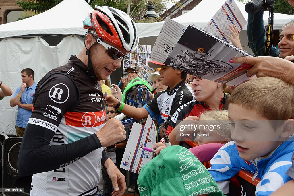 Chris Horner riding for RadioShack-Nissan-TREK signs autographs prior to the start of Stage Five of the USA Pro Challenge from Breckenridge to Colorado Springs on August 24, 2012 in Breckenridge, Colorado.