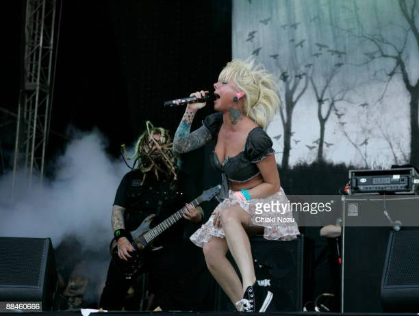 Chris Howorth and Maria Brink of In This Moment performs at day one of the Download Festival at Donington Park on June 12 2009 in Castle Donington...