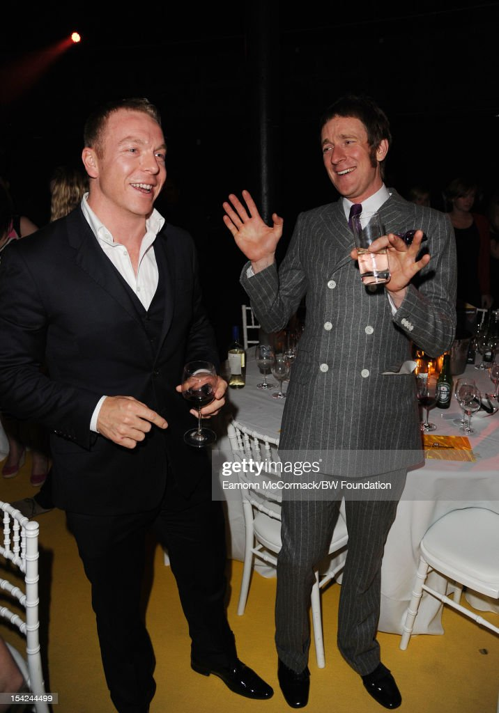 Chris Hoy and Bradley Wiggins attends the Bradley Wiggins Foundation 'The Yellow Ball' event at The Roundhouse on October 16, 2012 in London, England. The dinner and entertainment show was held to celebrate the historic achievements of Great Britain's cyclist Bradley Wiggins in 2012, including his Tour de France win and Olympic gold achievements. The Foundation aims to promote participation in sport, to encourage young people to exercise regularly, and to support athletes from all sports to take their talent to the next level.