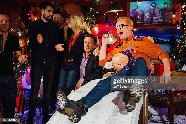 Chris Hoy Jack Whitehall James Corden Gaby Roslin Lee Mack and Chris Evans during a live broadcast of 'TFI Friday' on December 18 2015 in London...