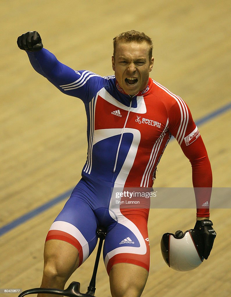 Chris Hoy of Great Britain celebrates victory in the Men's Sprint final during the UCI Track Cycling World Championships at the Manchester Velodrome...