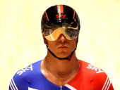 Chris Hoy of Great Britain prepares for the Mens Sprint Quaterfinals race during day three of the 2012 UCI Track Cycling World Championships at...