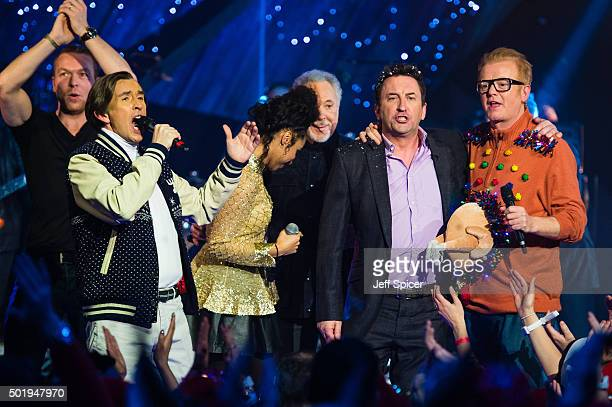 Chris Hoy Steve Coogan Lianne La Havas Tom Jones Lee Mack and Chris Evans during a live broadcast of 'TFI Friday' on December 18 2015 in London...