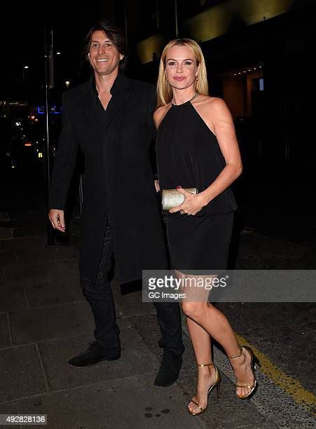 Chris Hughes and Amanda Holden attend Ant and Dec's joint 40th Birthday party at Kensington Roof Gardens on October 15 2015 in London England