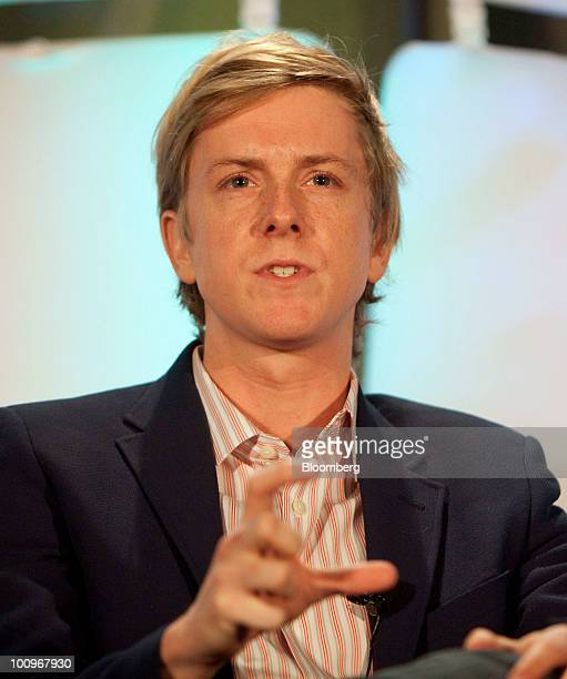 Chris Hughes founder of Jumo speaks during the TechCrunch Disrupt conference in New York US on Wednesday May 26 2010 The threeday conference a...