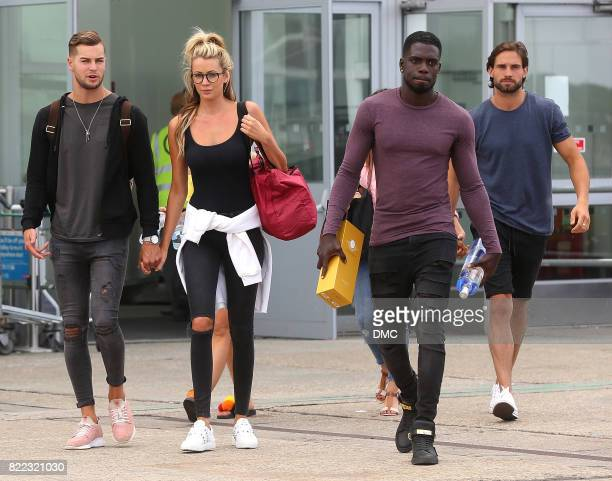 Chris Hughes Olivia Attwood Marcel Somerville and Jamie Jewitt from Love Island arrive at Stanstead airport on July 25 2017 in London England