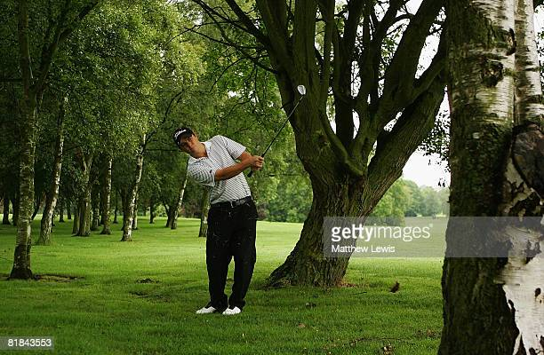 Chris Hughes plays a shot from the rough on the 2nd hole during the Powerade PGA Assistant's Championship North Region Qualifier at Knaresborough...
