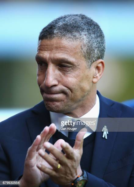 Chris Hughton mamnager of Brighton and Hove Albion shows appreciation to the fans prior to the Sky Bet Championship match between Aston Villa and...