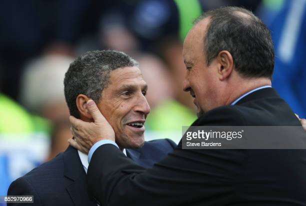 Chris Hughton Manager of Brighton and Hove Albion and Rafael Benitez Manager of Newcastle United greet each other prior to the Premier League match...