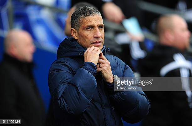 Chris Hughton Manager of Brighton and Hove Albion during the Sky Bet Championship match between Cardiff City and Brighton and Hove Albion at the...