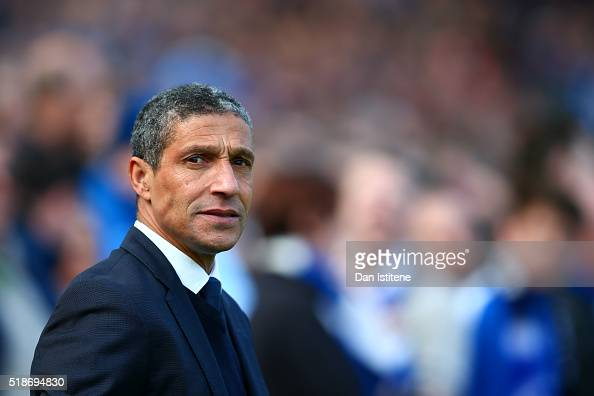 Chris Hughton manager of Brighton and Hove Albion looks on before the Sky Bet Championship match between Brighton Hove Albion and Burnley at Amex...