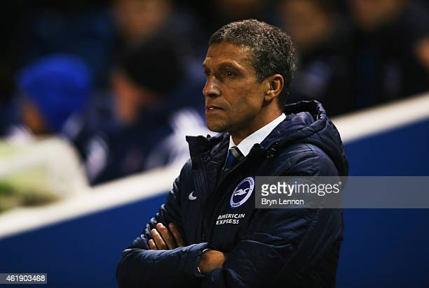 Chris Hughton manager of Brighton and Hove Albion looks on prior to the Sky Bet Championship match between Brighton Hove Albion and Ipswich Town at...