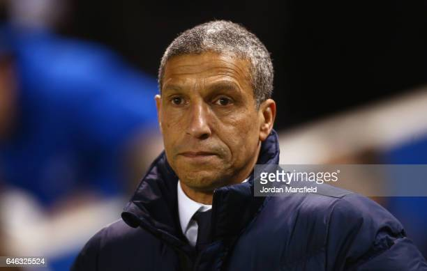 Chris Hughton manager of Brighton and Hove Albion looks on prior to the Sky Bet Championship match between Brighton Hove Albion and Newcastle United...