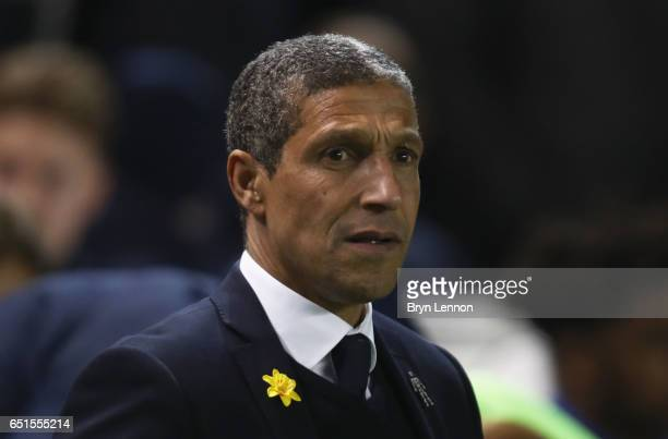 Chris Hughton manager of Brighton and Hove Albion looks on prior to the Sky Bet Championship match between Brighton Hove Albion and Derby County at...