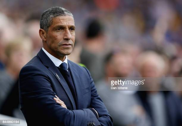 Chris Hughton Manager of Brighton and Hove Albion looks on prior to the Premier League match between Brighton and Hove Albion and West Bromwich...