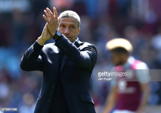 Chris Hughton manager of Brighton and Hove Albion shows appreciation to the fans after the Sky Bet Championship match between Aston Villa and...