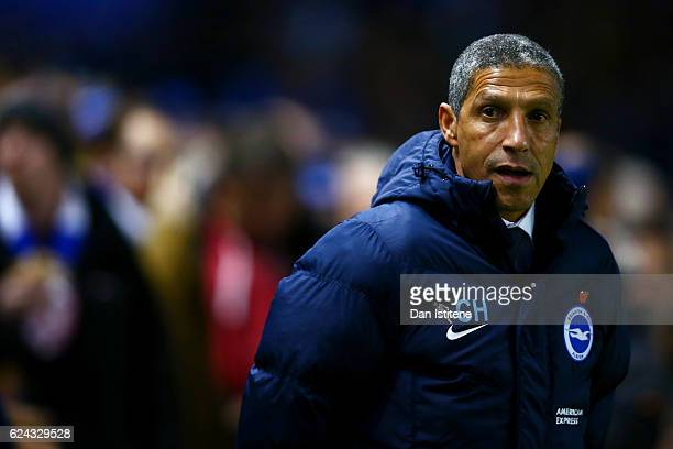 Chris Hughton manager of Brighton Hove Albion looks on before the Sky Bet Championship match between Brighton Hove Albion and Aston Villa at Amex...