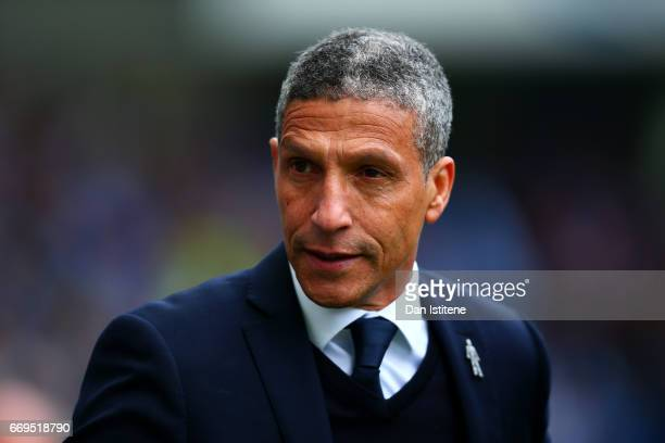 Chris Hughton manager of Brighton Hove Albion looks on before the Sky Bet Championship match between Brighton Hove Albion and Wigan Athletic at Amex...