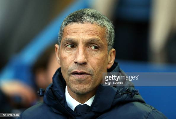Chris Hughton manager of Brighton Hove Albion looks on during the Sky Bet Championship Play Off First Leg between Sheffield Wednesday and Brighton...