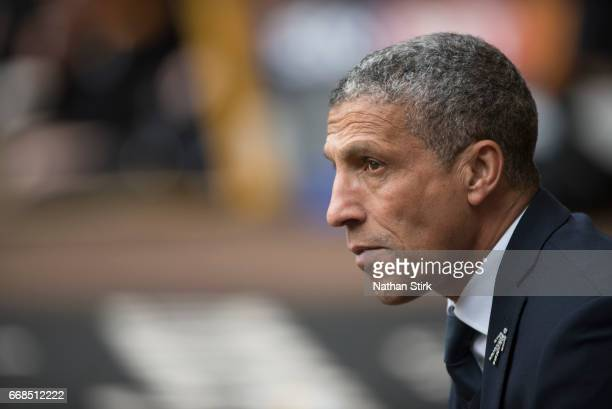 Chris Hughton manager of Brighton Hove Albion looks on during the Sky Bet Championship match between Wolverhampton Wanderers and Brighton Hove Albion...