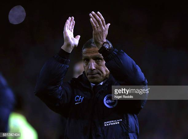 Chris Hughton manager of Brighton Hove Albion reacts after the Sky Bet Championship Play Off First Leg between Sheffield Wednesday and Brighton Hove...