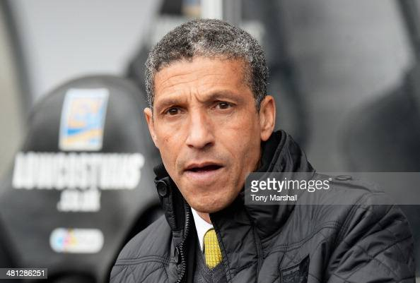 Chris Hughton manager of Norwich City looks on during the Barclays Premier League match between Swansea City and Norwich City at Liberty Stadium on...