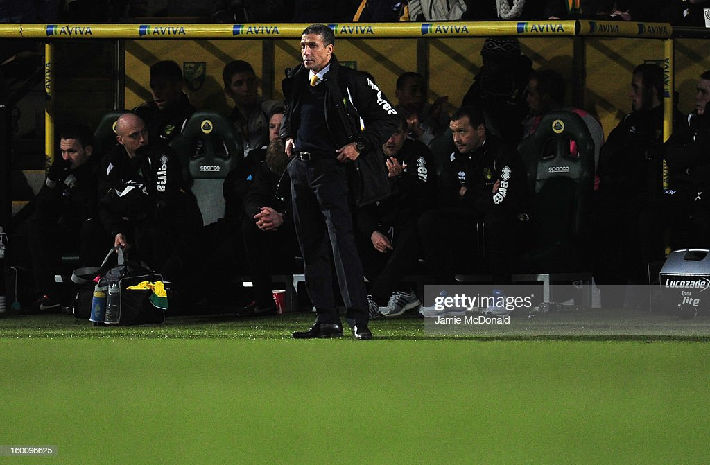 Chris Hughton manager of Norwich City looks on during the FA Cup with Budweiser fourth round match between Norwich City and Luton Town at Carrow Road on January 26, 2013 in Norwich, England.