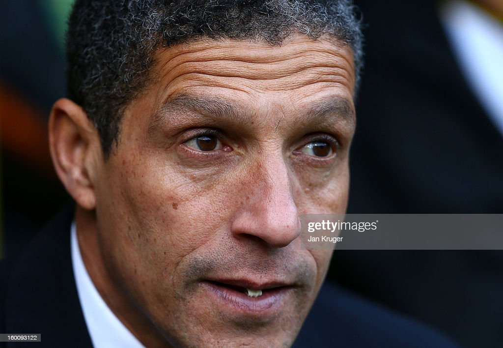 Chris Hughton, Manager of Norwich City looks on prior to kick off during the FA Cup with Budweiser fourth round match between Norwich City and Luton Town at Carrow Road on January 26, 2013 in Norwich, England.