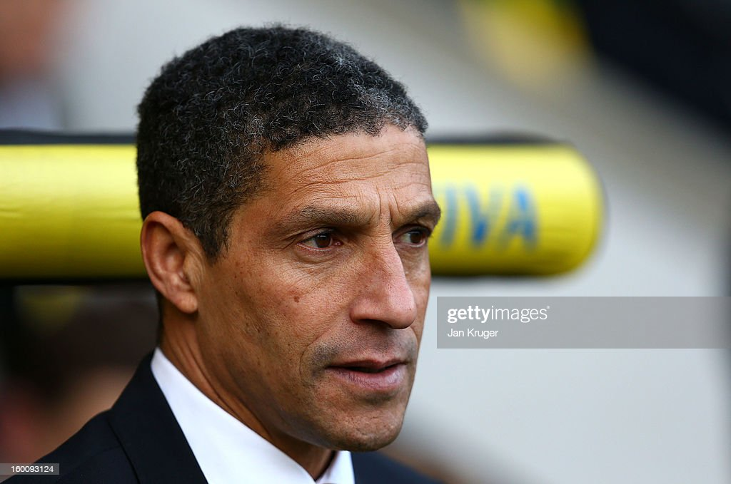 <a gi-track='captionPersonalityLinkClicked' href=/galleries/search?phrase=Chris+Hughton&family=editorial&specificpeople=646349 ng-click='$event.stopPropagation()'>Chris Hughton</a>, Manager of Norwich City looks on prior to kick off during the FA Cup with Budweiser fourth round match between Norwich City and Luton Town at Carrow Road on January 26, 2013 in Norwich, England.