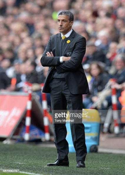 Chris Hughton Manager of Norwich City on the touchline during the Barclays Premier League match between Swansea City and Norwich City at Liberty...