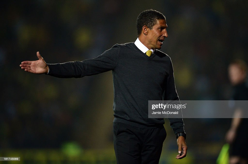 <a gi-track='captionPersonalityLinkClicked' href=/galleries/search?phrase=Chris+Hughton&family=editorial&specificpeople=646349 ng-click='$event.stopPropagation()'>Chris Hughton</a> manager of Norwich City reacts during the Capital One Cup Third Round match between Watford and Norwich City at Vicarage Road on September 24, 2013 in Watford, England.