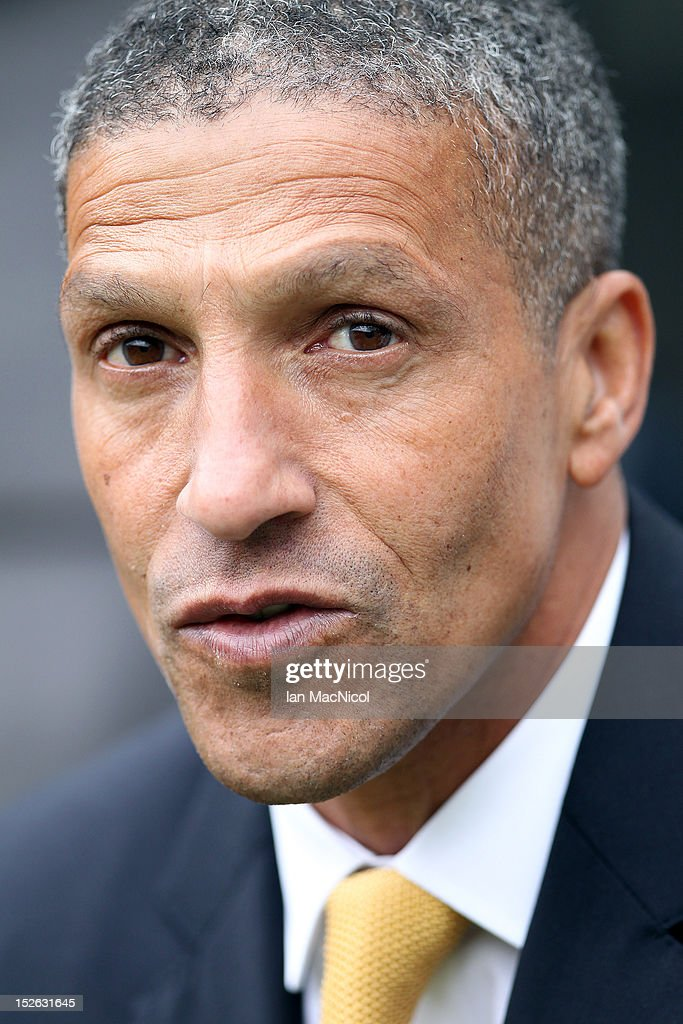 Chris Hughton, manager of Norwich City takes his seat in the dug out during the Barclays Premier League match between Newcastle United and Norwich City on September 23, 2012 in Newcastle, England.