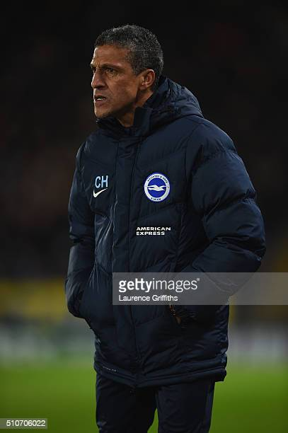 Chris Hughton of Brighton and Hove Albion looks on during the Sky Bet Championship match between Hull City and Brighton and Hove Albion at KC Stadium...
