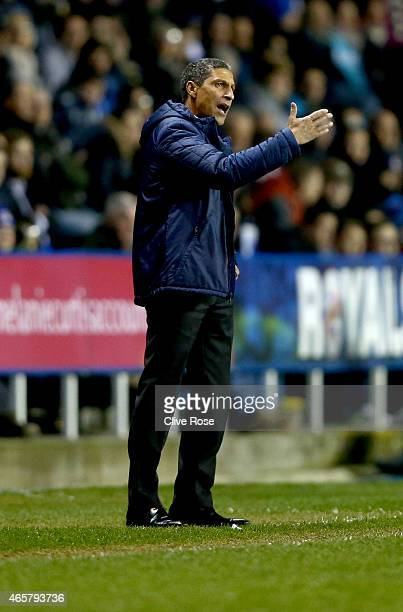 Chris Hughton of Brighton Hove Albion looks on during the Sky Bet Championship match between Reading and Brighton Hove Albion at Madejski Stadium on...