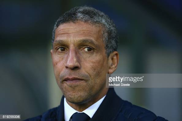 Chris Hughton the manager of Brighton and Hove Albion looks on during the Sky Bet Championship match between Birmingham City and Brighton and Hove...