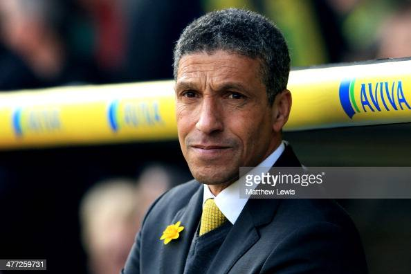 Chris Hughton the Norwich manager looks on during the Barclays Premier League match between Norwich and Stoke at Carrow Road on March 8 2014 in...