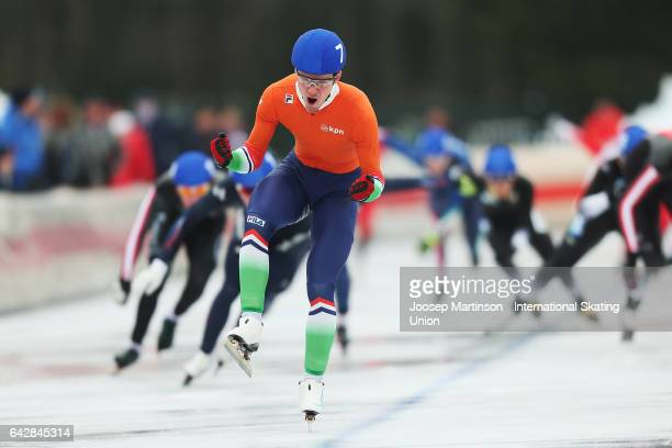 Chris Huizinga of Netherlands celebrates in the men's mass start during day three of the World Junior Speed Skating Championships at Oulunkyla Sports...