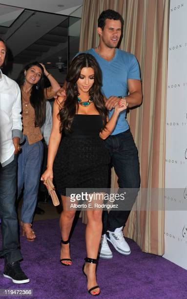 Chris Humphries and TV personality Kim Kardashian arrive to the Launch Party for 'Noon by Noor' on July 20 2011 in West Hollywood California