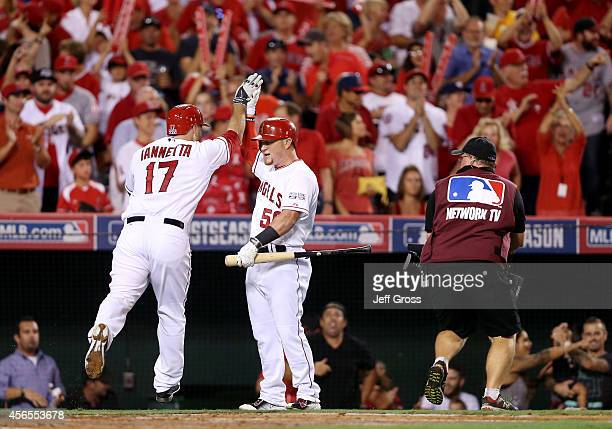 Chris Iannetta celebrates his home run with Kole Calhoun of the Los Angeles Angels in the third inning against the Kansas City Royals during Game One...