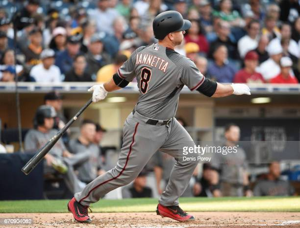 Chris Iannetta of the Arizona Diamondbacks hits a double during the /second inning of a baseball game against the San Diego Padres at PETCO Park on...