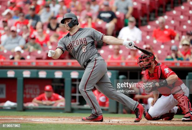 Chris Iannetta of the Arizona Diamondbacks hits a double in the first inning against the Cincinnati Reds at Great American Ball Park on July 20 2017...